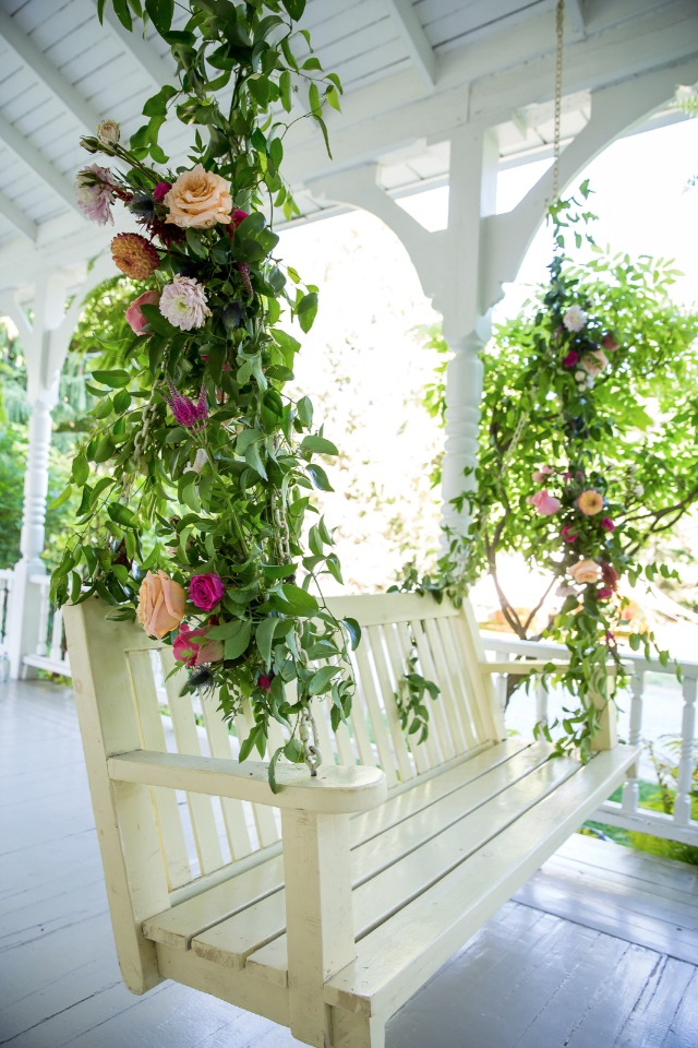 flower accented porch swing