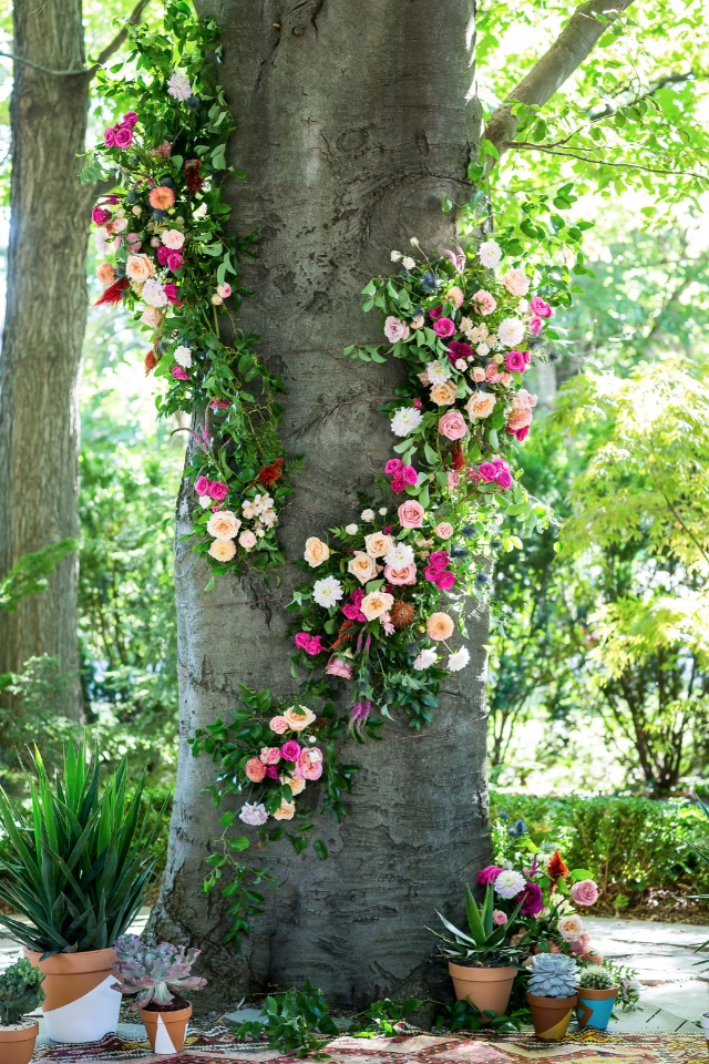 romantic flower wrapped tree