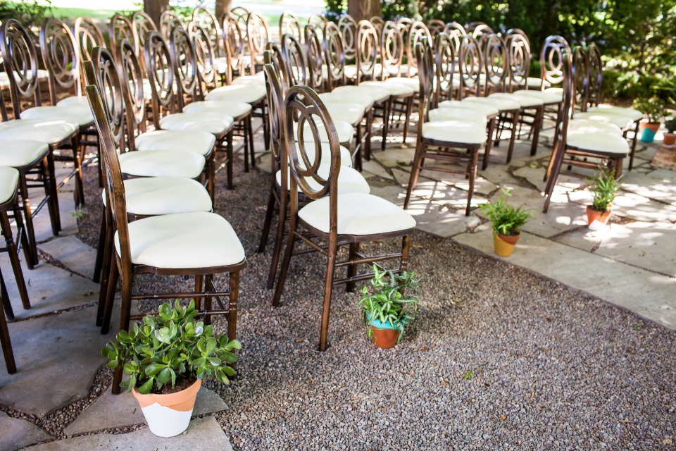 potted plant wedding aisle decor
