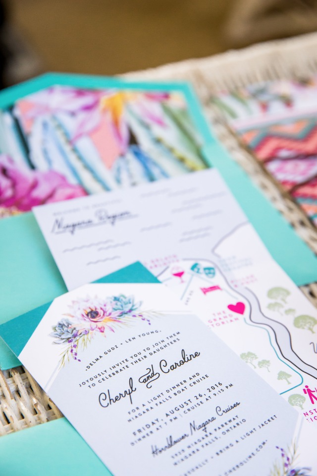 bright and colorful wedding invitations