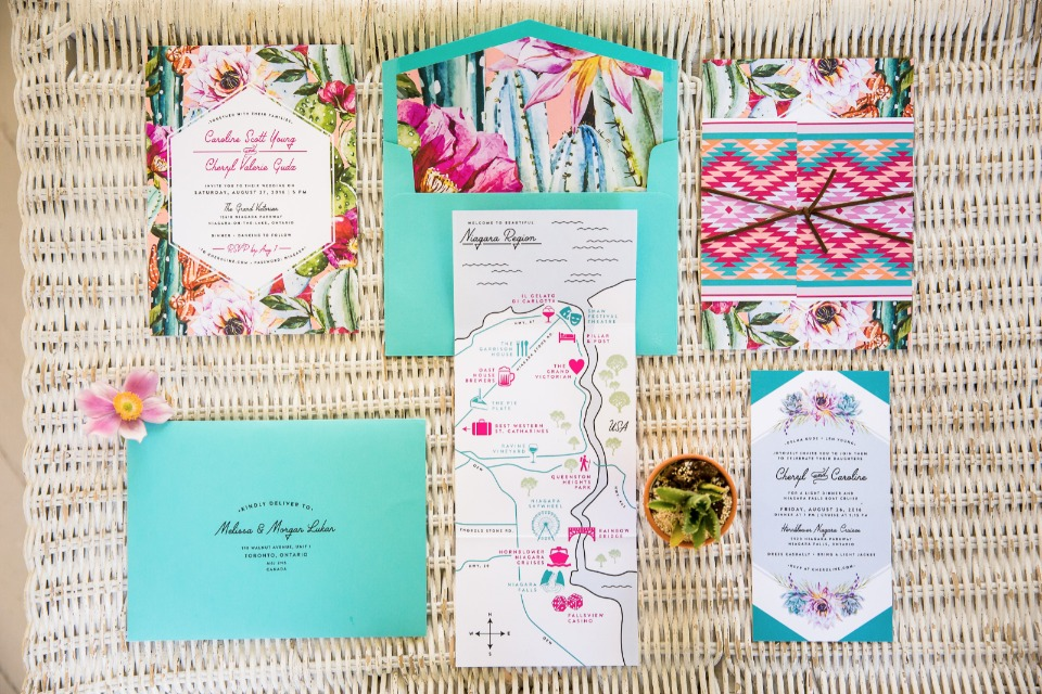teal and fuchsia wedding stationery