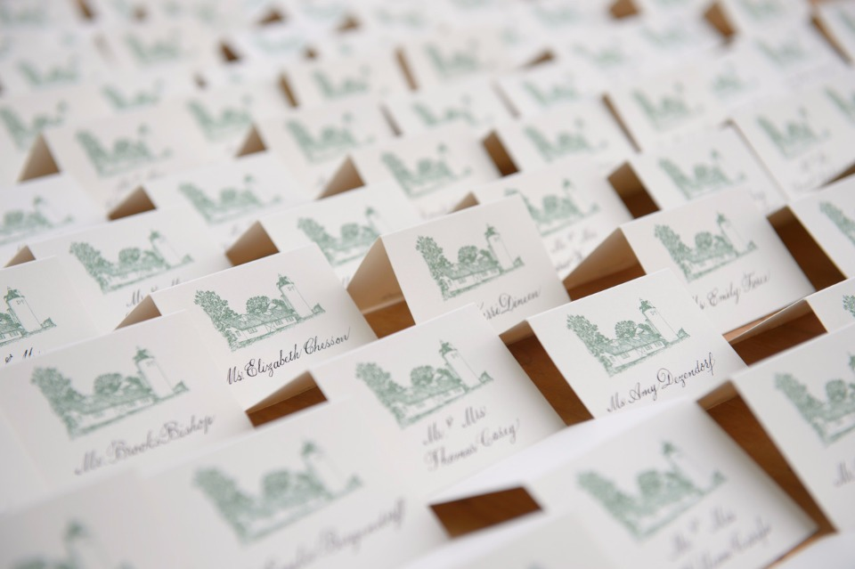 Beautiful illustrated Place cards from Pickett's Press