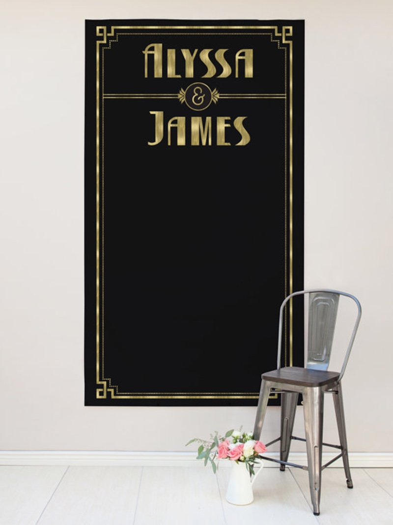 Miss Design Berry's custom art deco black and gold wedding backdrop measures 4' x 7', is made of vinyl, and makes awesome wedding reception