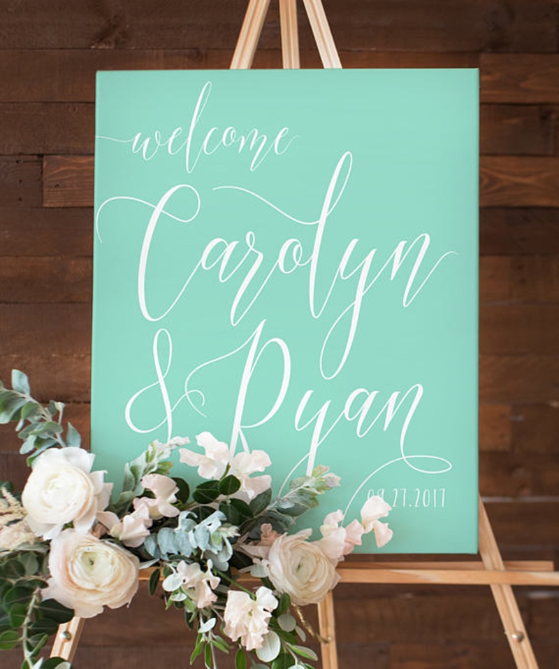Miss Design Berry's Mint Green and white wedding welcome sign features dynamic type for an elegant yet modern look, perfect for your