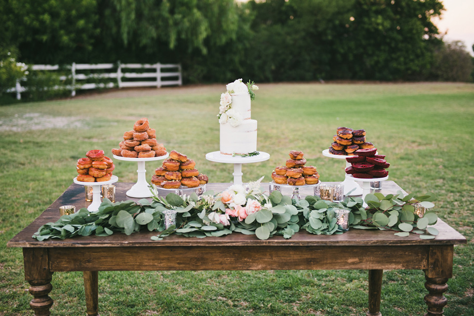 donuts and cake dessert table