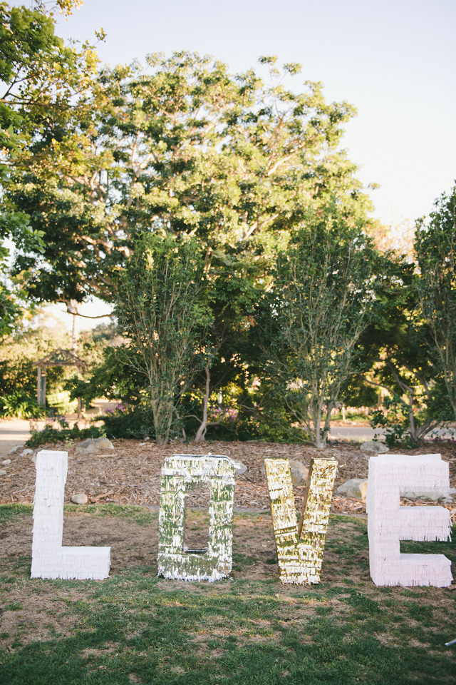 giant fringe letters wedding DIY