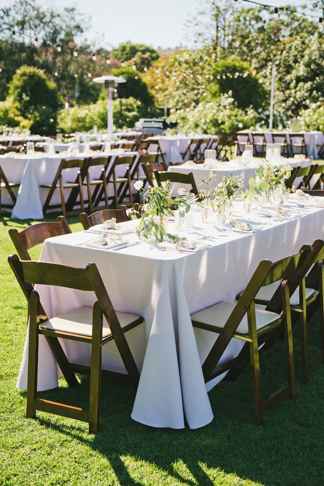 romantic outdoor wedding reception with candles