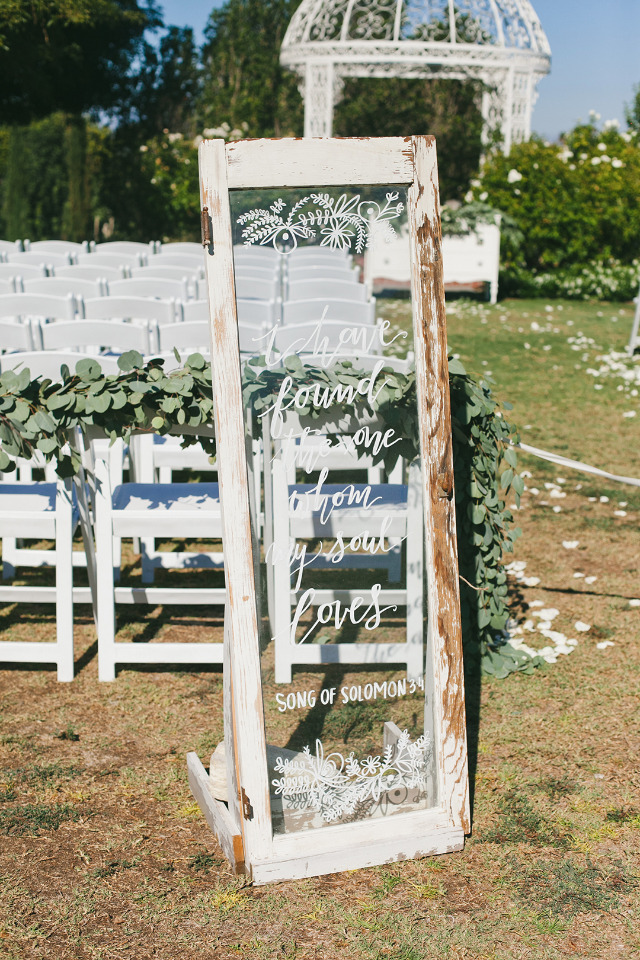 Large rustic glass wedding sign