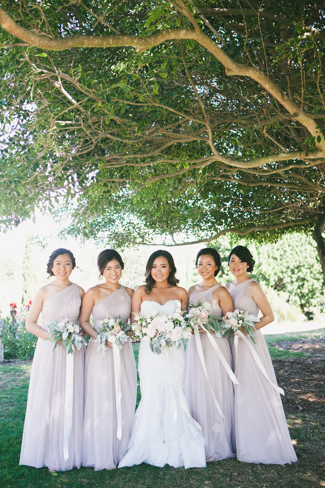 soft pink bridesmaids dresses