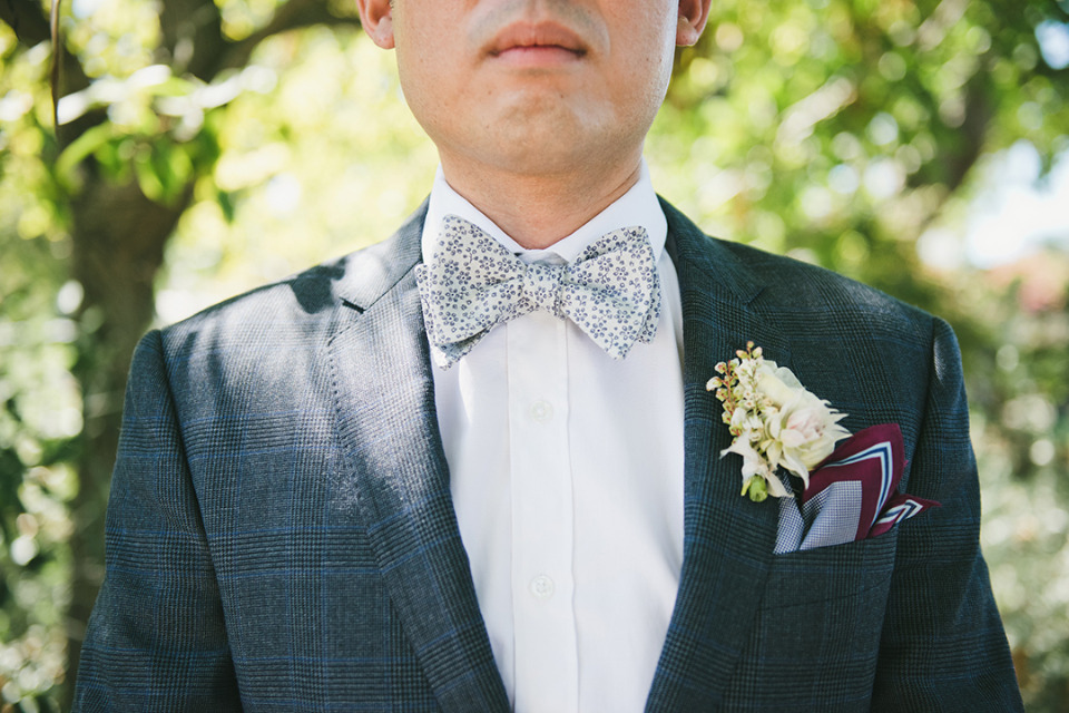 blue and white groom bowtie