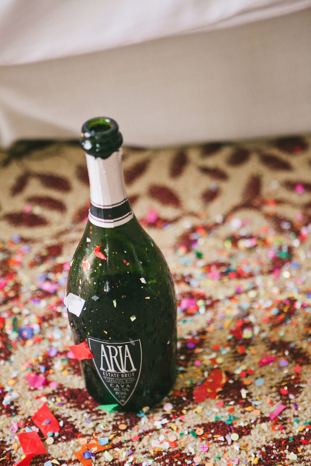 confetti and champagne while getting ready