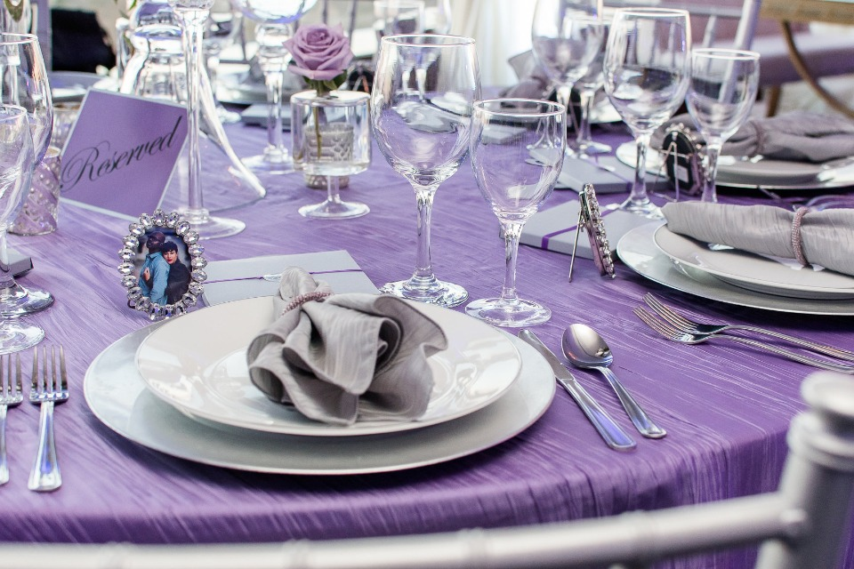 Purple and silver tablescape - wish upon a wedding