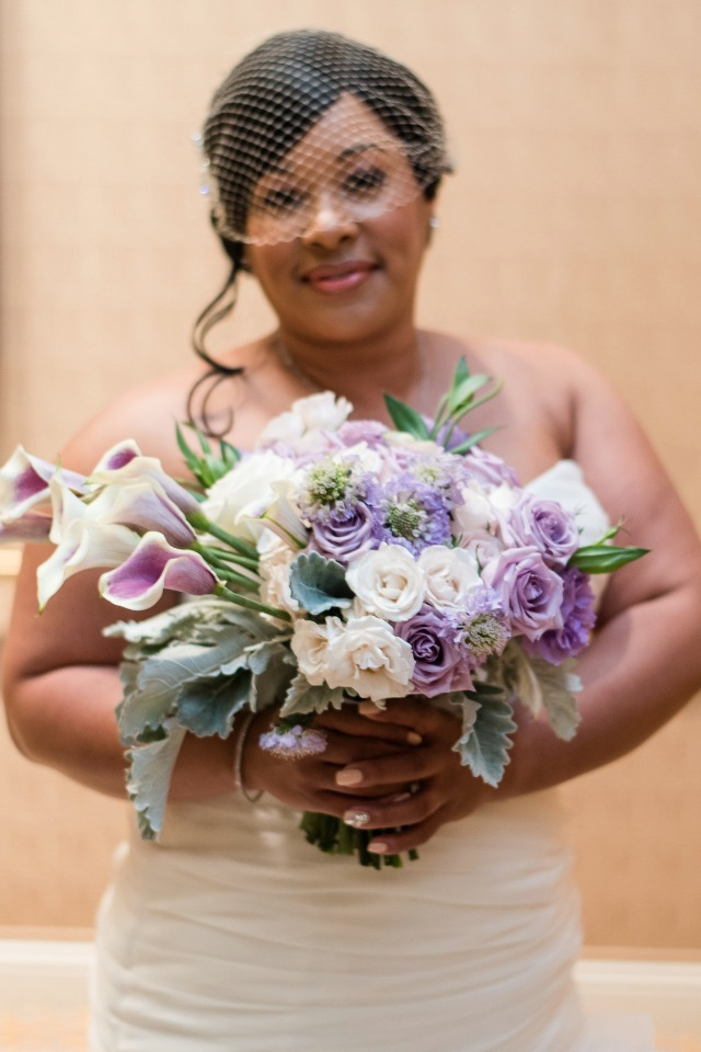 Purple and white bouquet - wish upon a wedding