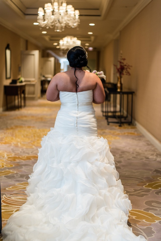 Ruffle filled wedding dress