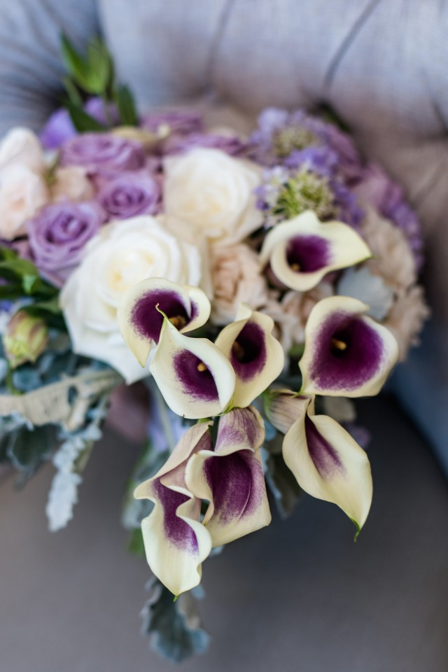 Beautiful purple and white bouquet - wish upon a wedding