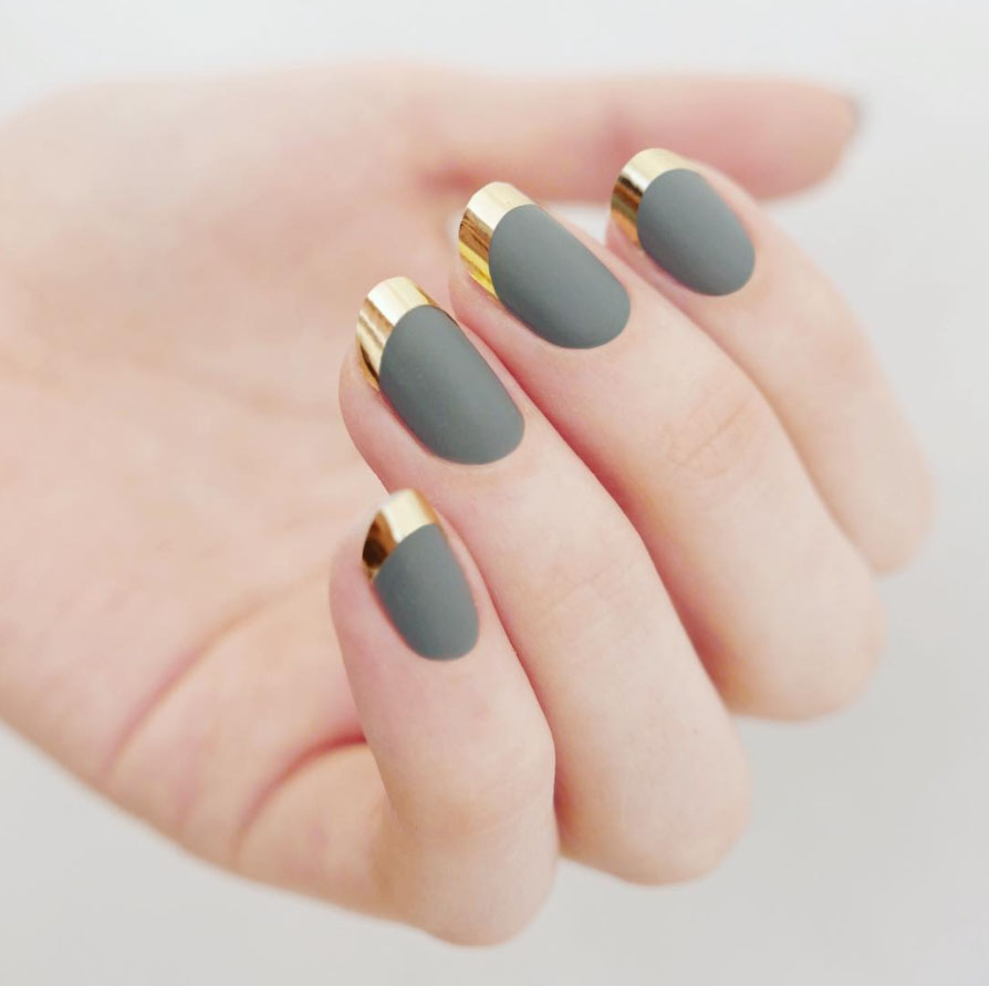 gold and grey french manicure
