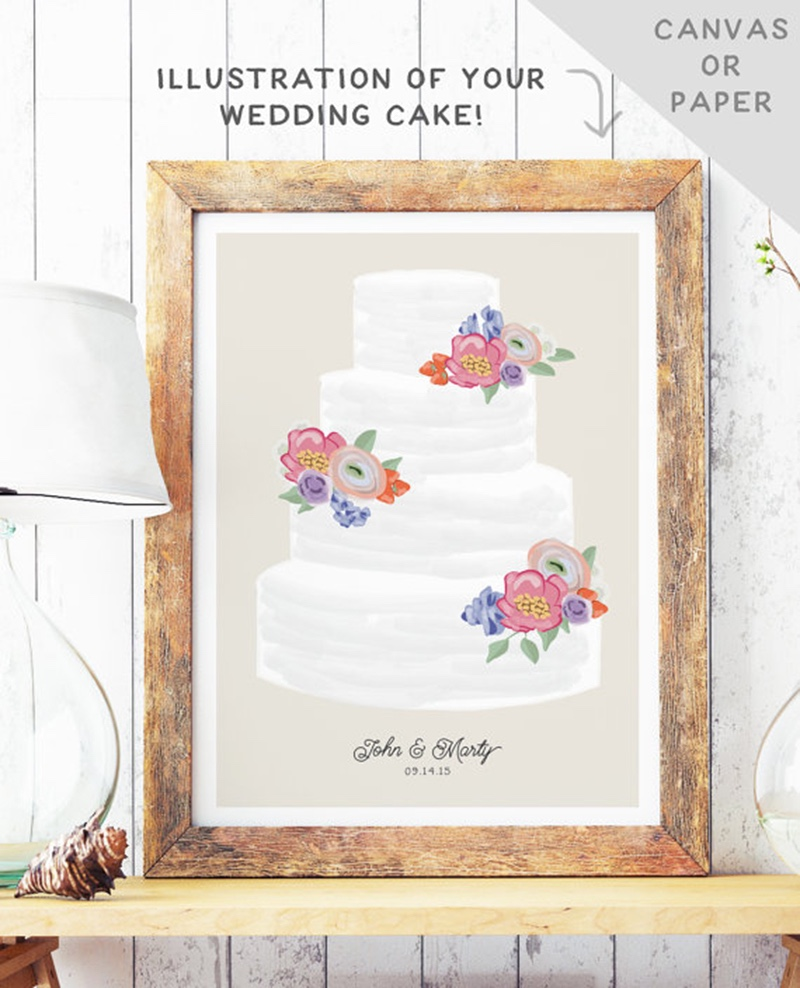 Miss Design Berry's personalized wedding cake portrait is an 8x10 illustration of your wedding cake based on photos you send us.