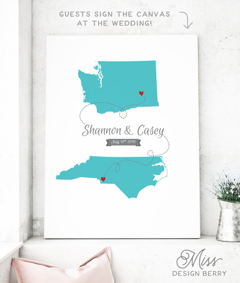 Miss Design Berry's canvas state map wedding guest book alternative is customized with the two states or countries of your choice in