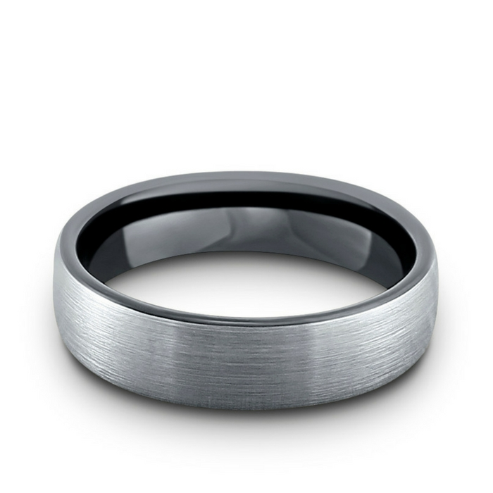 6mm silver brushed tungsten wedding ring with a high polish black interior. This makes the perfect men's wedding ring. It is both extremely