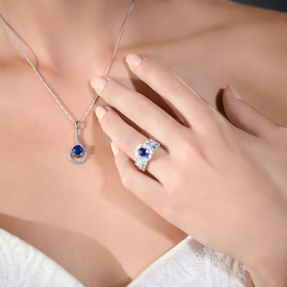 Sapphire and diamond pendant and ring from Shane Co.
