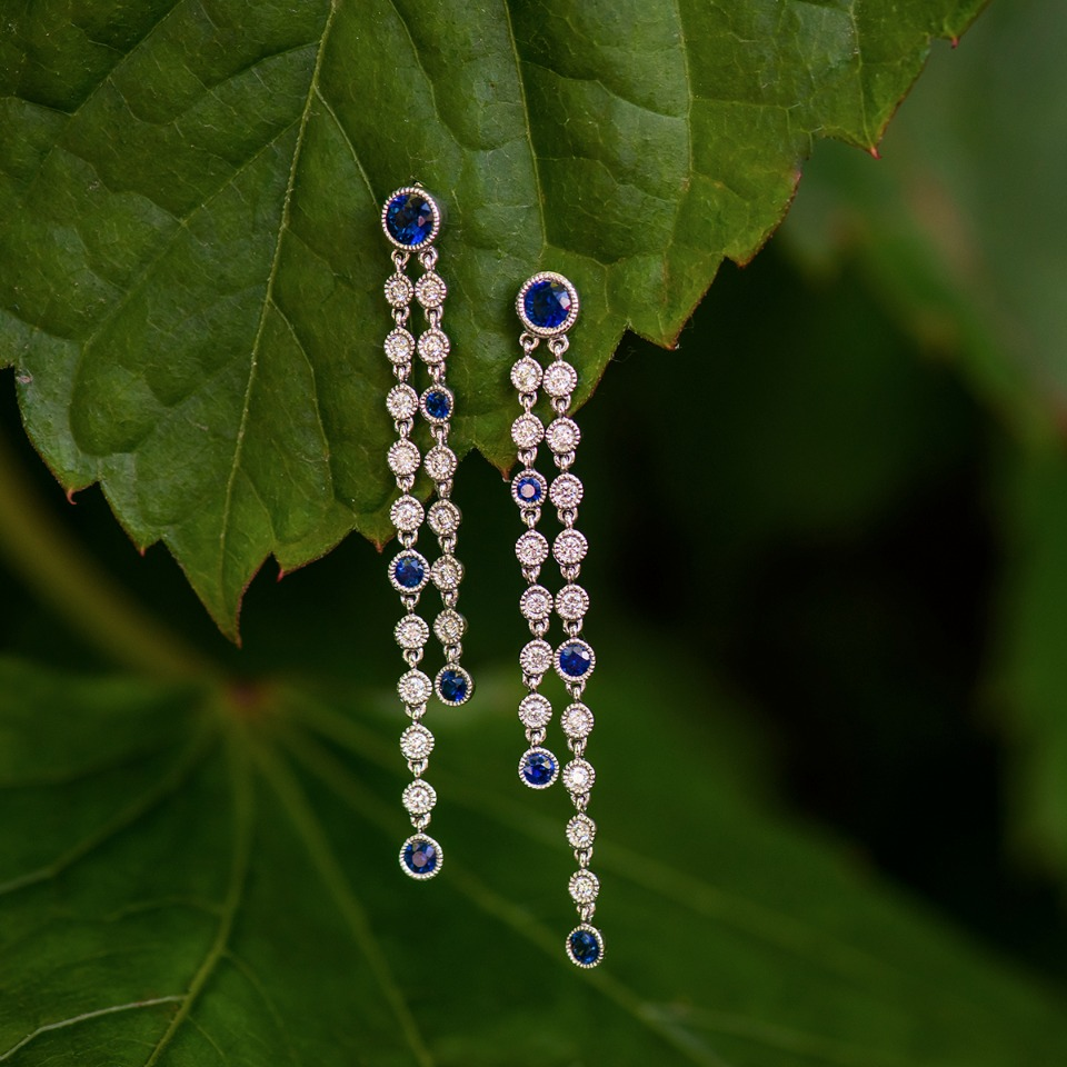 Sapphire and diamond dangle earrings from Shane Co.