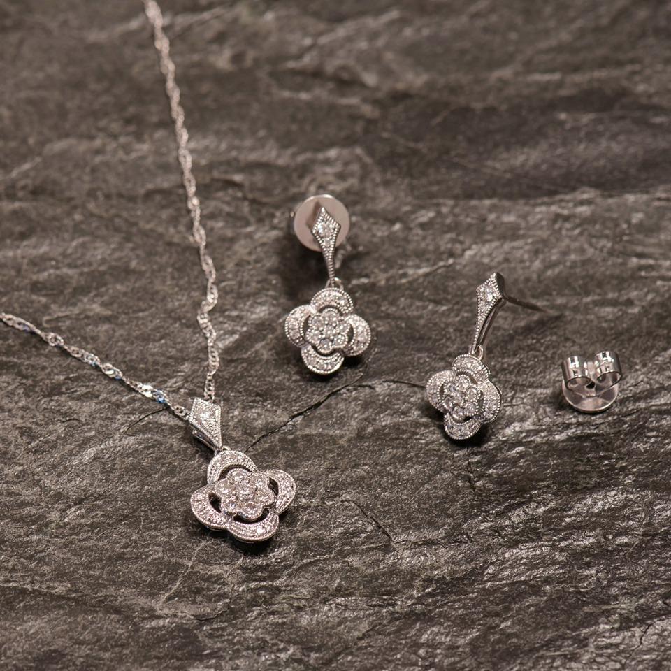 Diamond floral pendant set from Shane Co.