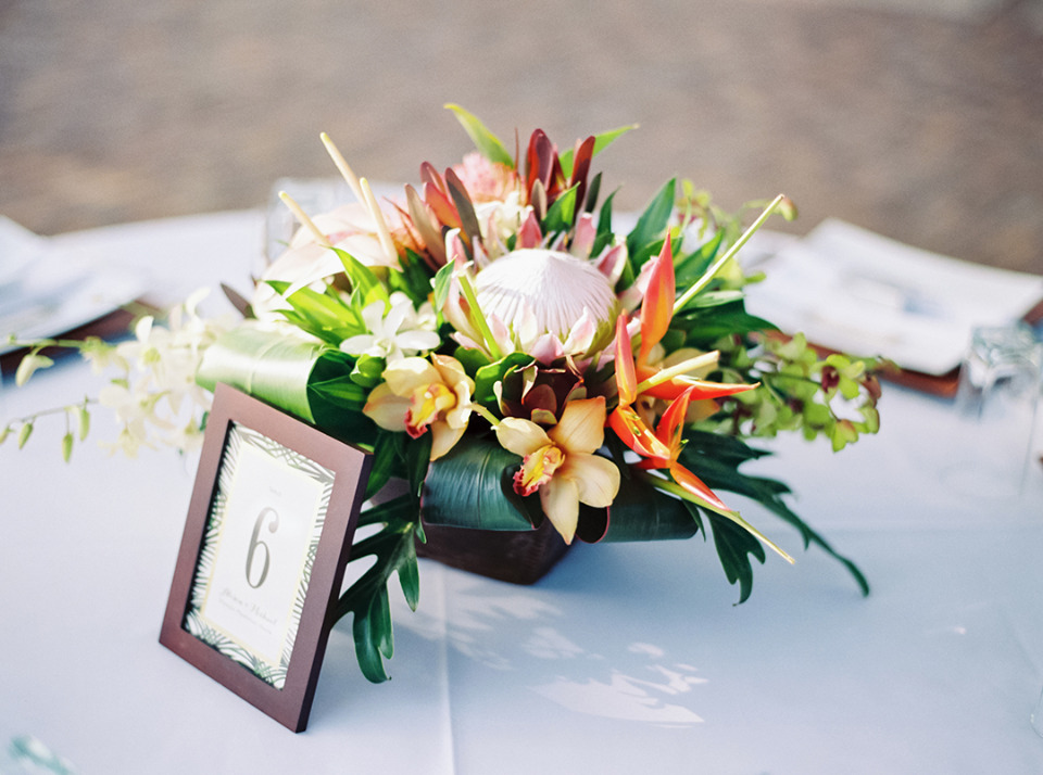 tropical flowers wedding centerpiece