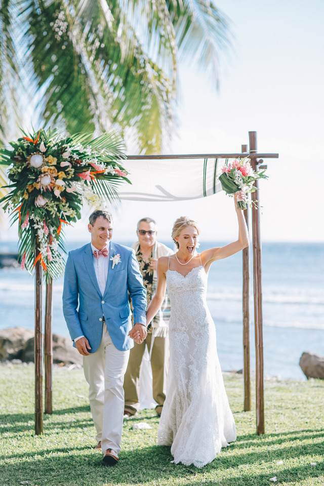 happy and beautiful newlyweds in Hawaii