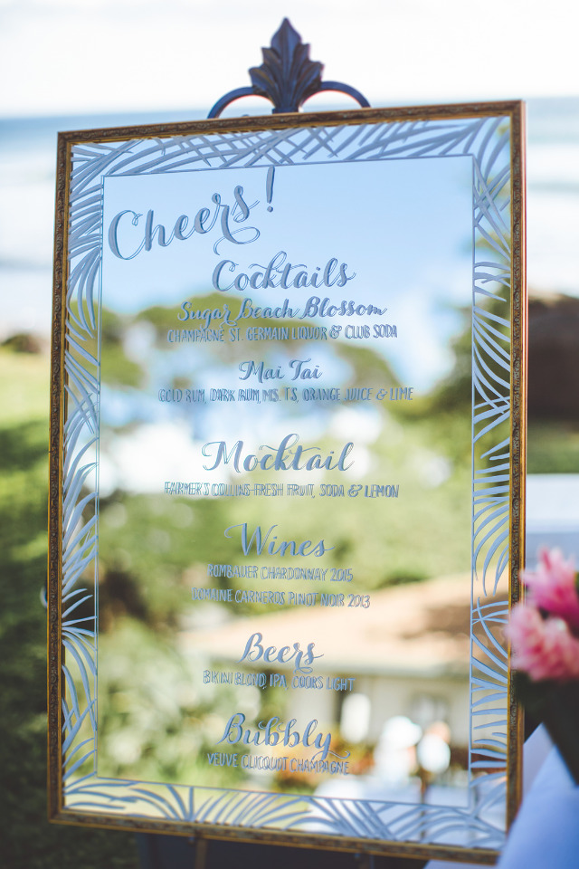 wedding drinks menu mirror