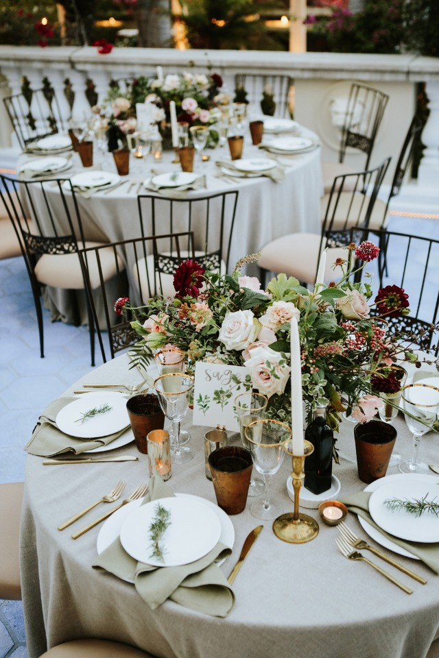 taupe and gold wedding table decor
