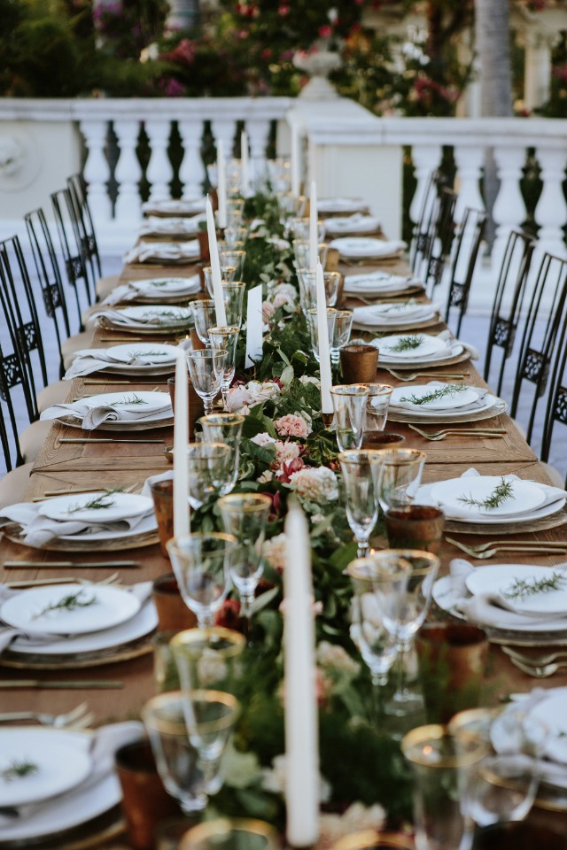 garden themed family style seating for the reception