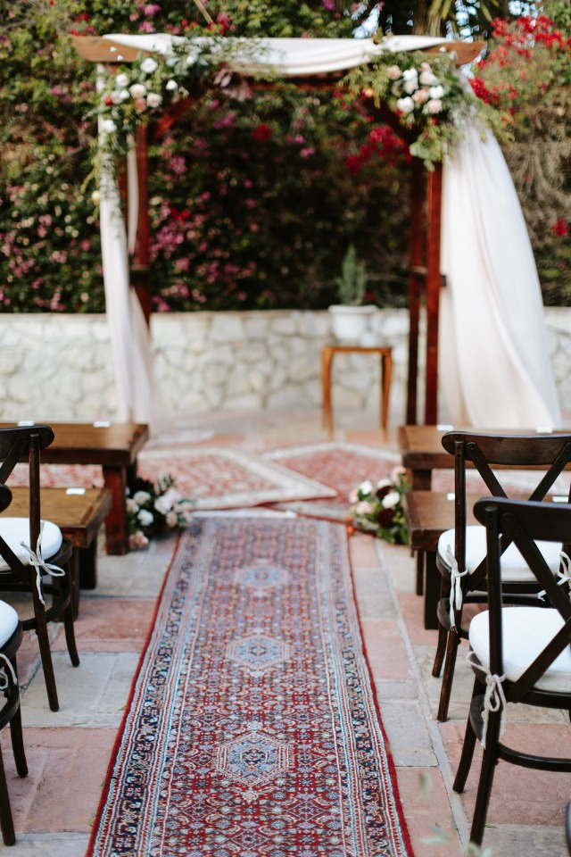 carpeted wedding aisle