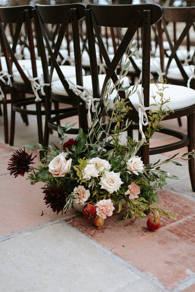 burgundy and peach floral aisle decor