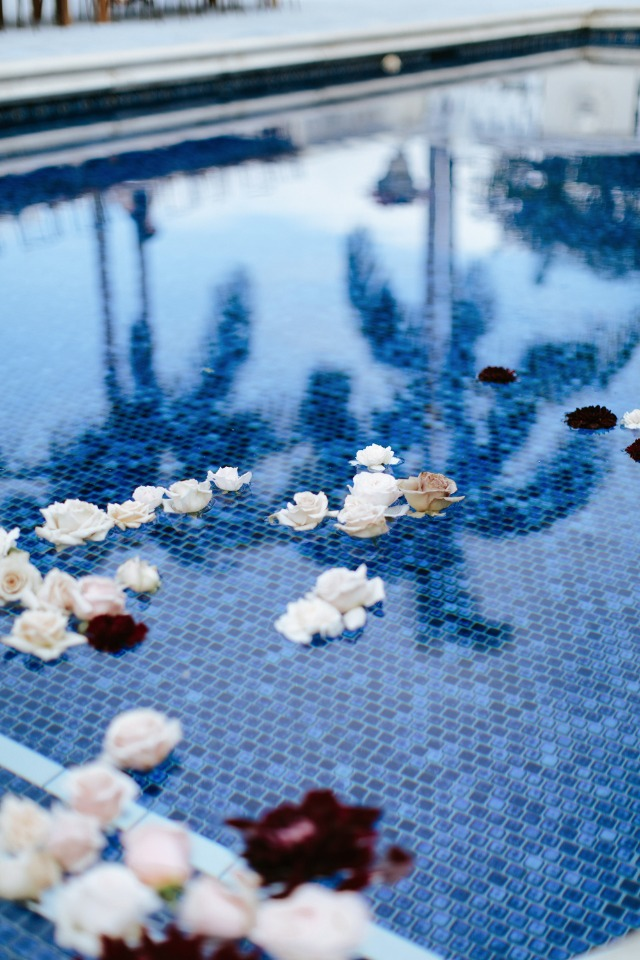 flowers floating in the pool