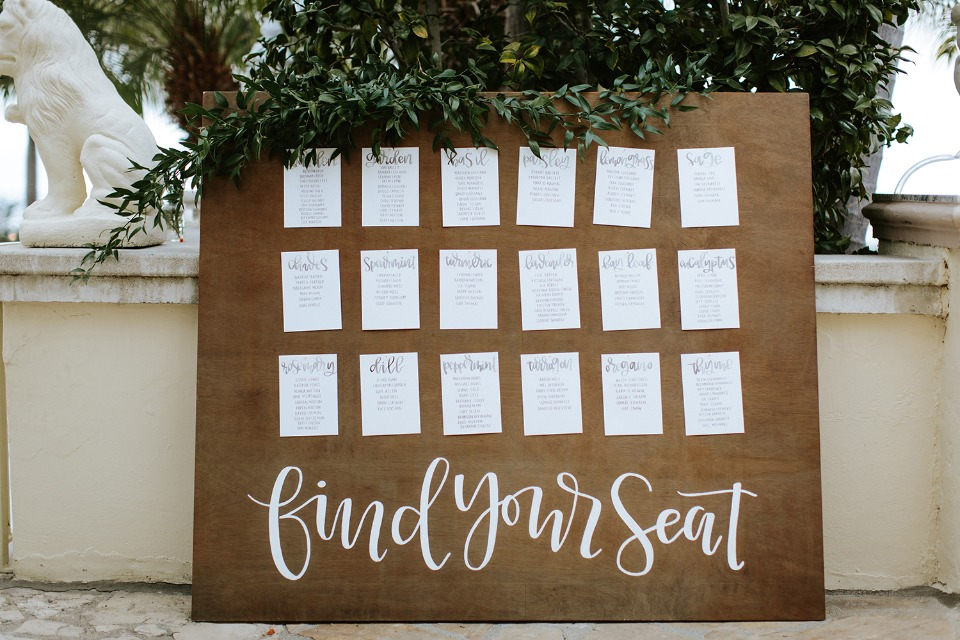 wedding seating display