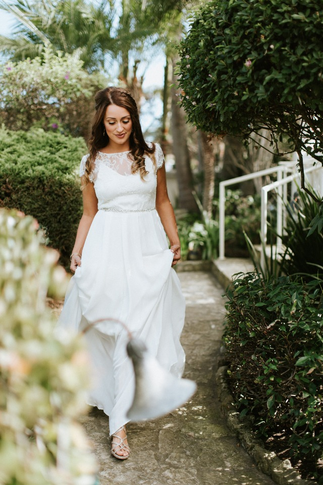 bride in Sarah Seven dress