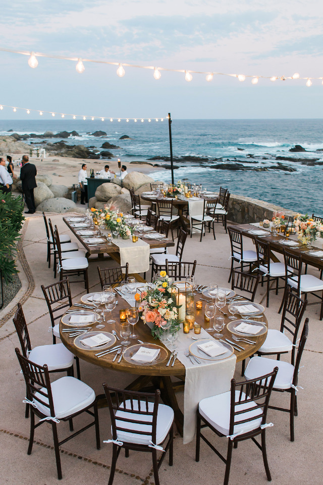 sunset beach wedding reception in Cabo