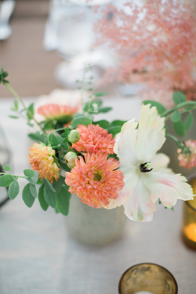 white and coral wedding flowers