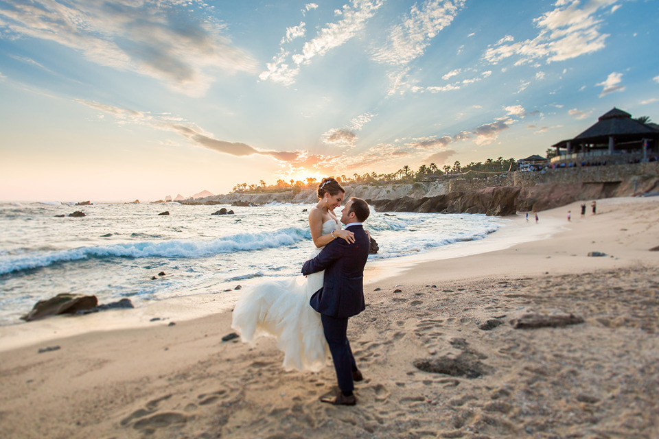 beautiful sunset wedding portrait
