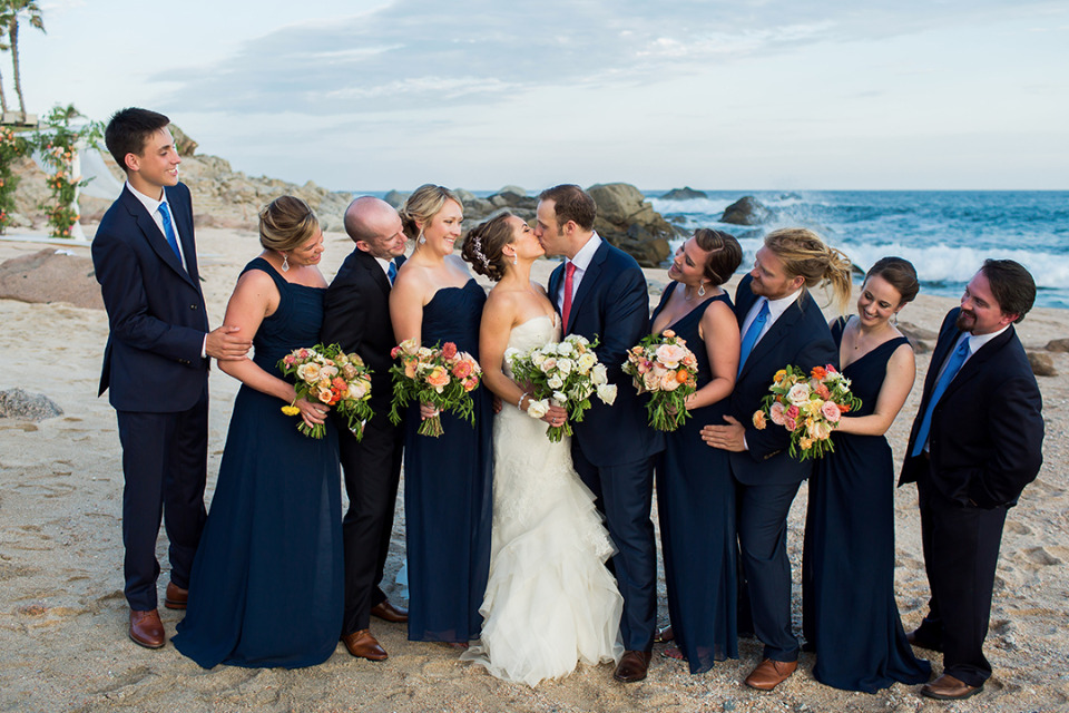 navy blue wedding party outfits