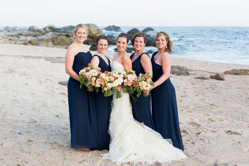 navy blue long bridesmaids dresses