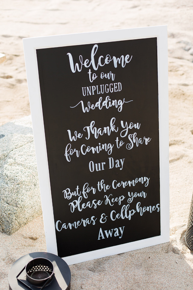 chalkboard wedding sign for an unplugged wedding