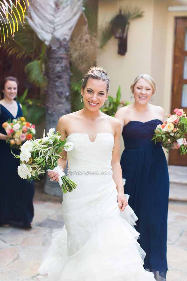beautiful bride in Vera Wang dress