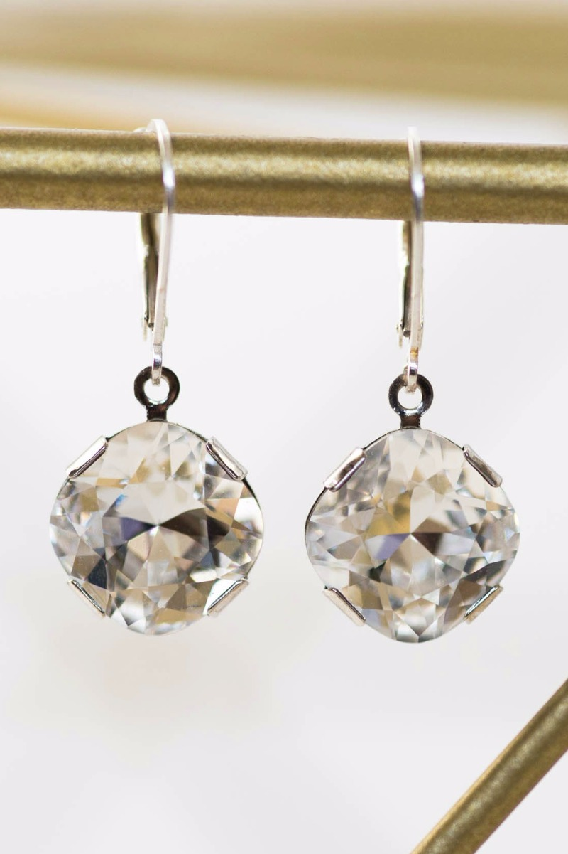 The sparkliest cushion cut crystal earrings! Sterling silver for all-day comfort for the most sensitive of ears. Posh Bridal Earrings