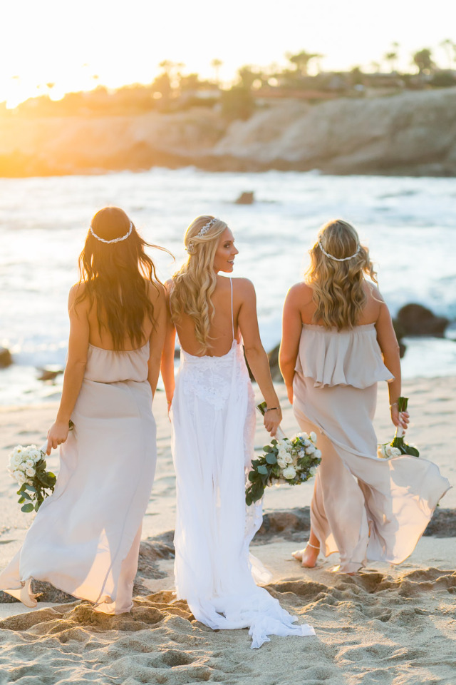 beach wedding bridesmaids in Cabo