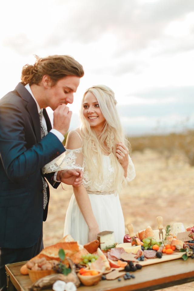 hors d'oeuvres bar at this desert boho shoot