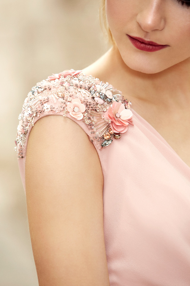 fun floral beading on coktail dress sleeves