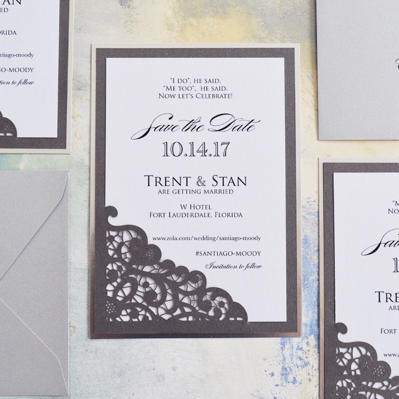 Inform guests about your LOVELY celebration with our Laser Cut Save The Dates. We're loving the silver foil backings on them!