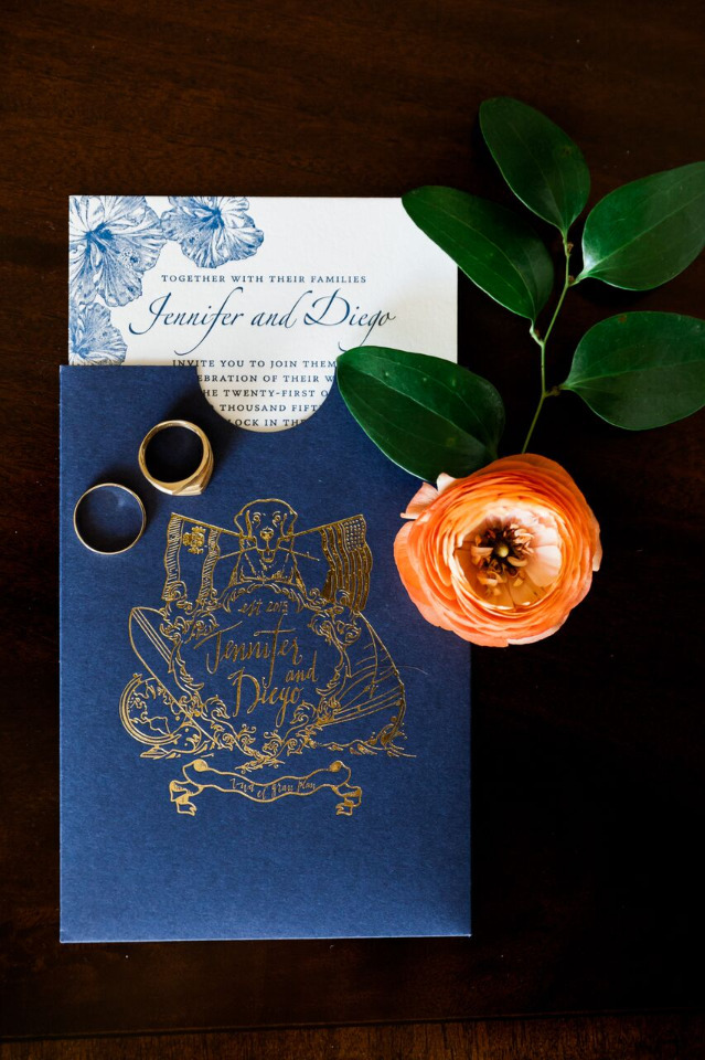 navy blue and white wedding invites with custom emblem