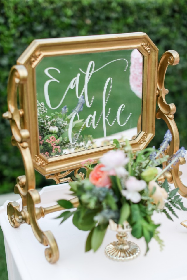 Cute gold mirror sign